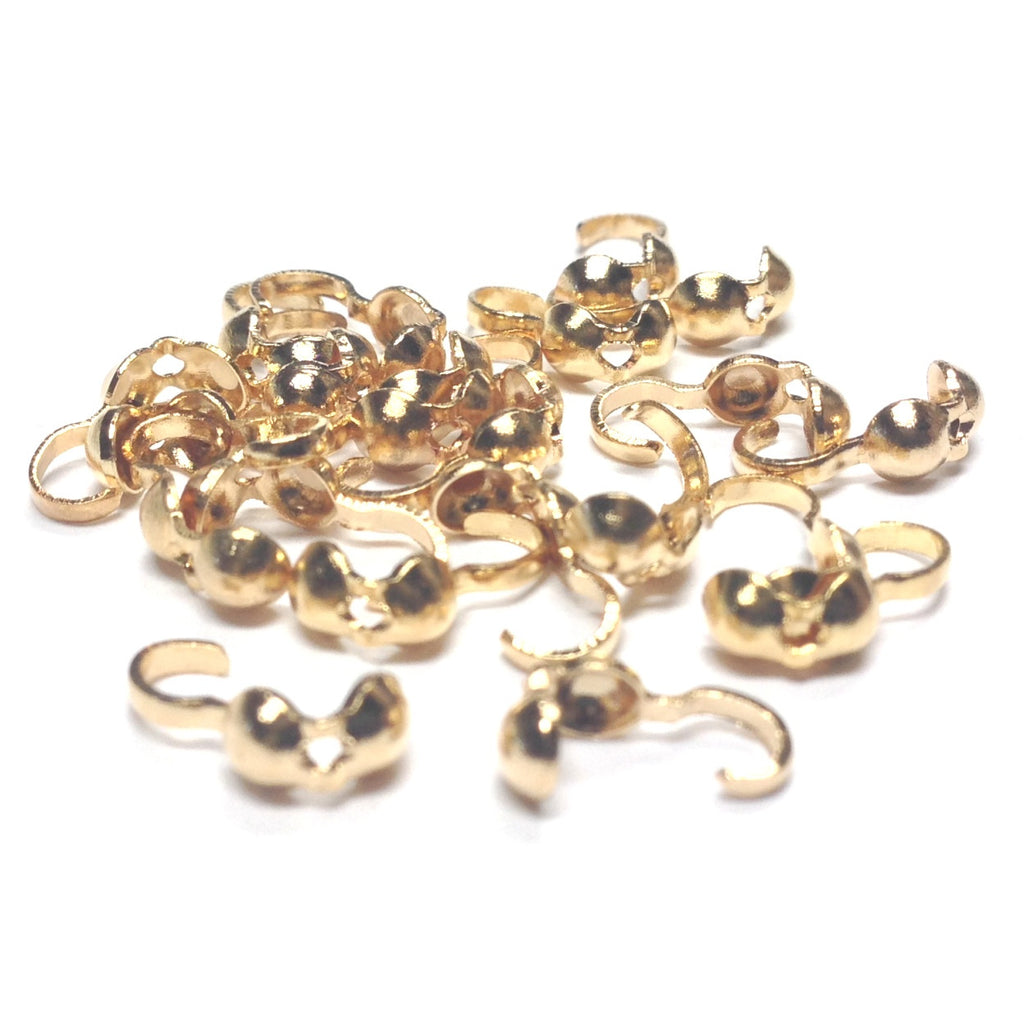 Foldover Bead Tip With Hole Gold (144 pieces)