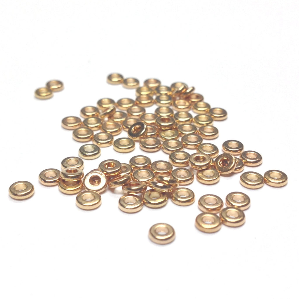 3MM Ham.Gold Plated Spacer Disc Rondel (144 pieces)