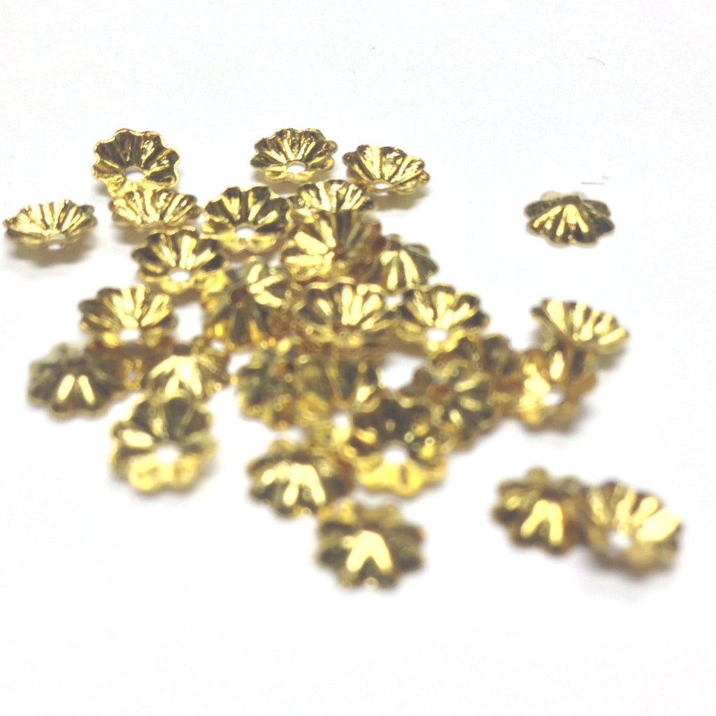3MM Gilt Fluted Bead Cap (144 pieces)