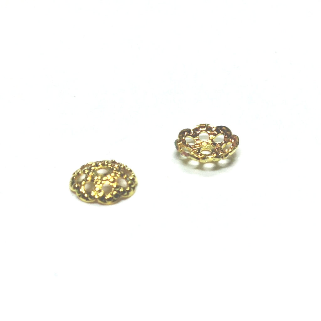 6MM Gilt Domed Filigree Bead Cap (144 pieces)