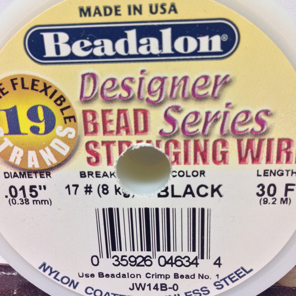#15 19 Strand Black Tigertail 30Ft Spool (1 piece)