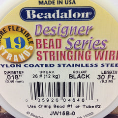 #18 19 Strand Black Tigertail 30Ft Spool (1 piece)