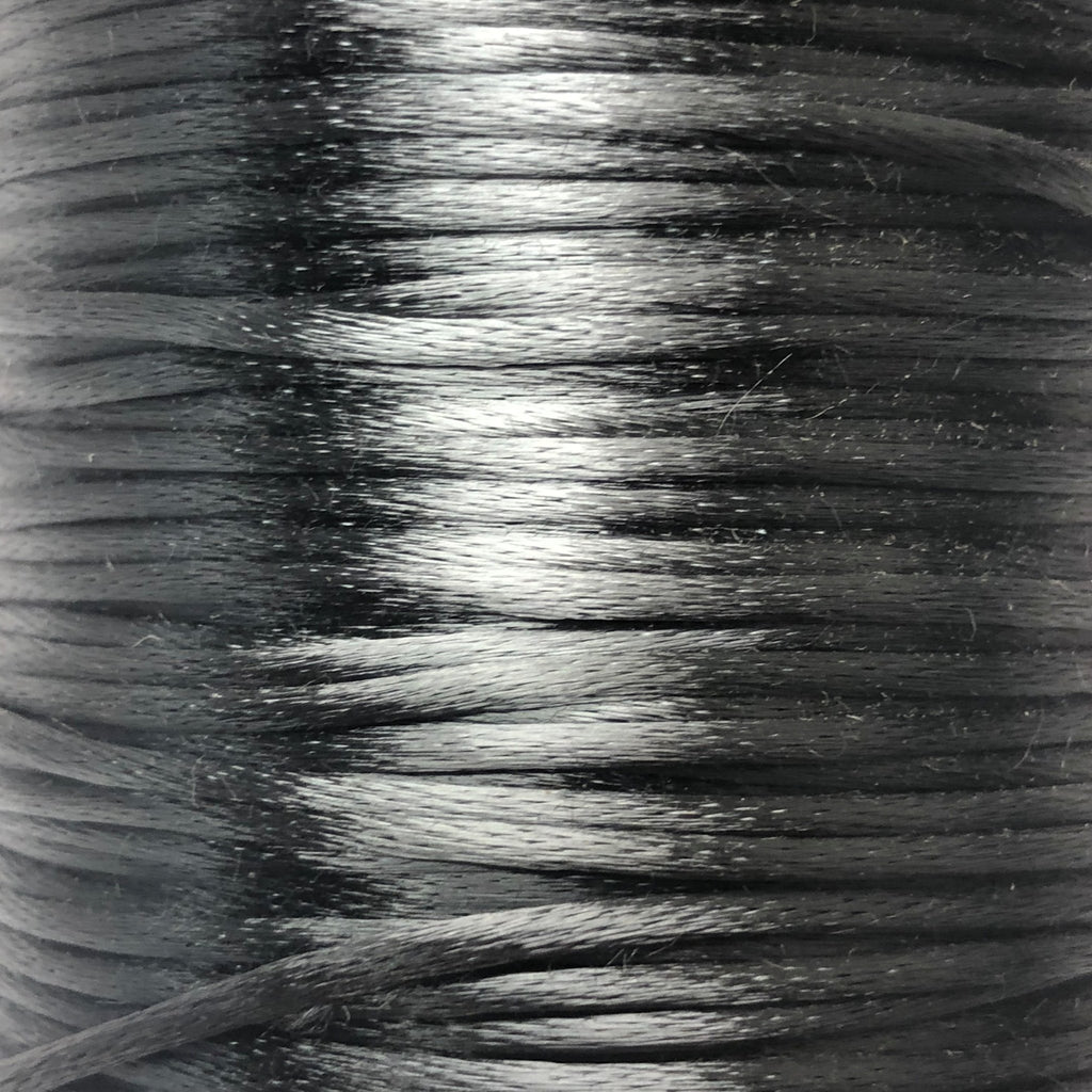 Size #1 - 2MM Dark Grey Satin Cord (Rattail) 144 Yds