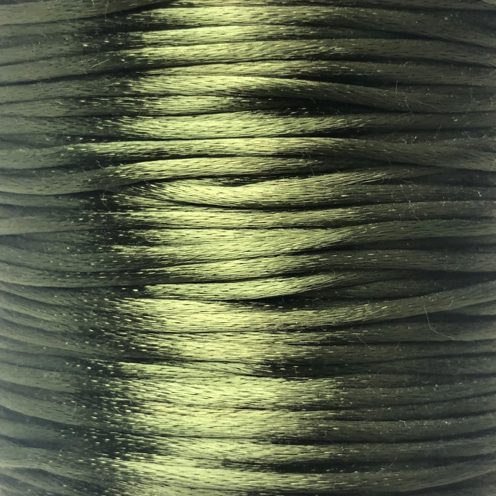 Size #2 - 3MM Dark Olive Green Satin Cord (Rattail) 144 Yds