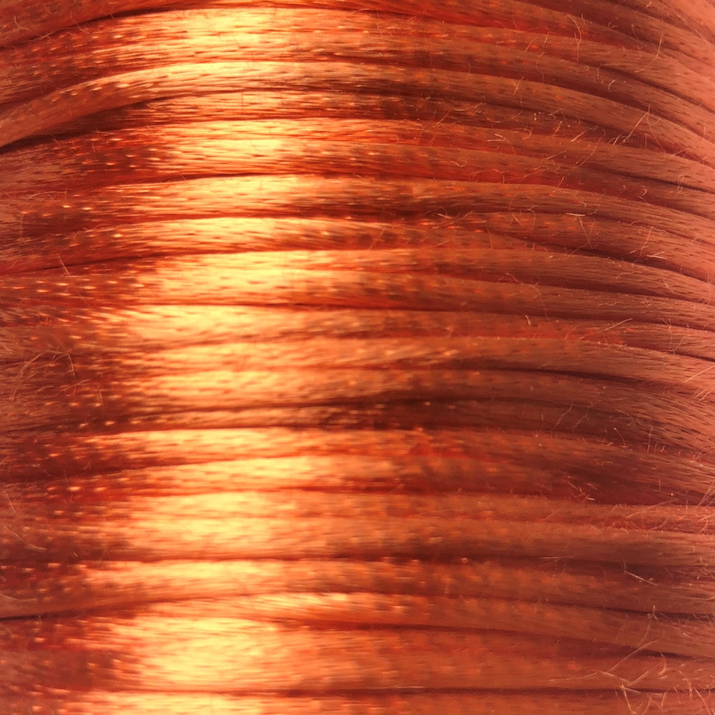 Size #2 - 3MM Orange Satin Cord (Rattail) 144 Yds