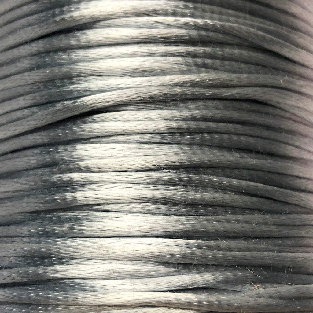 Size #1 - 2MM Silver Satin Cord (Rattail) 144 Yds