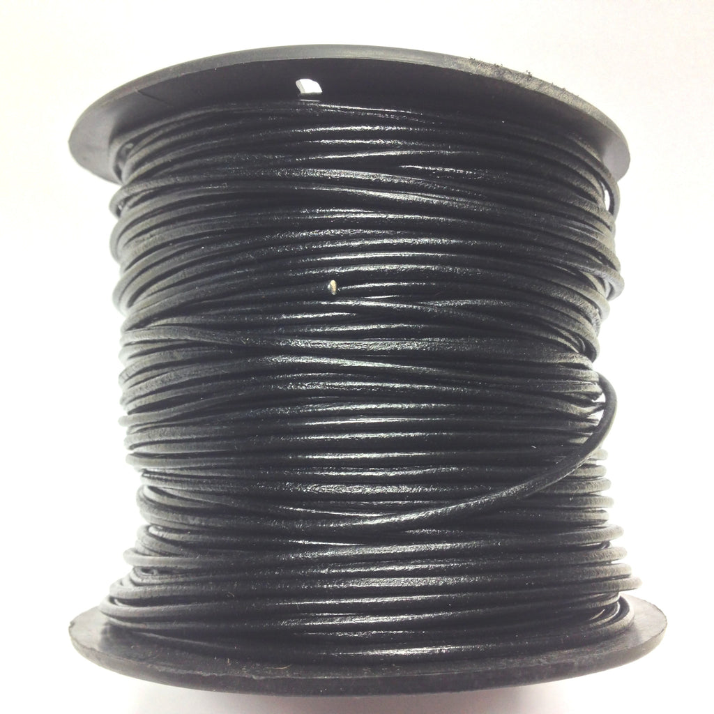 2MM Black Leather Lace 100Yd Spool