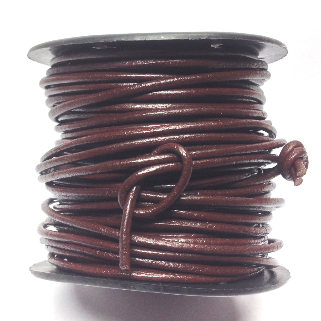 2MM Brown Leather Lace 25 Yd Spool