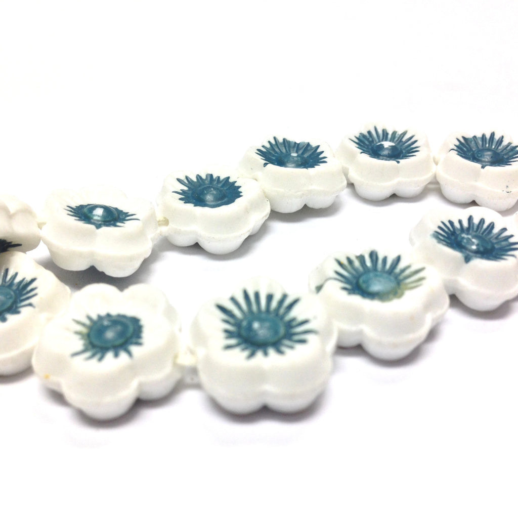 14MM White w/Blue Flower Disc Bead 15Pcs/String (15 pieces)