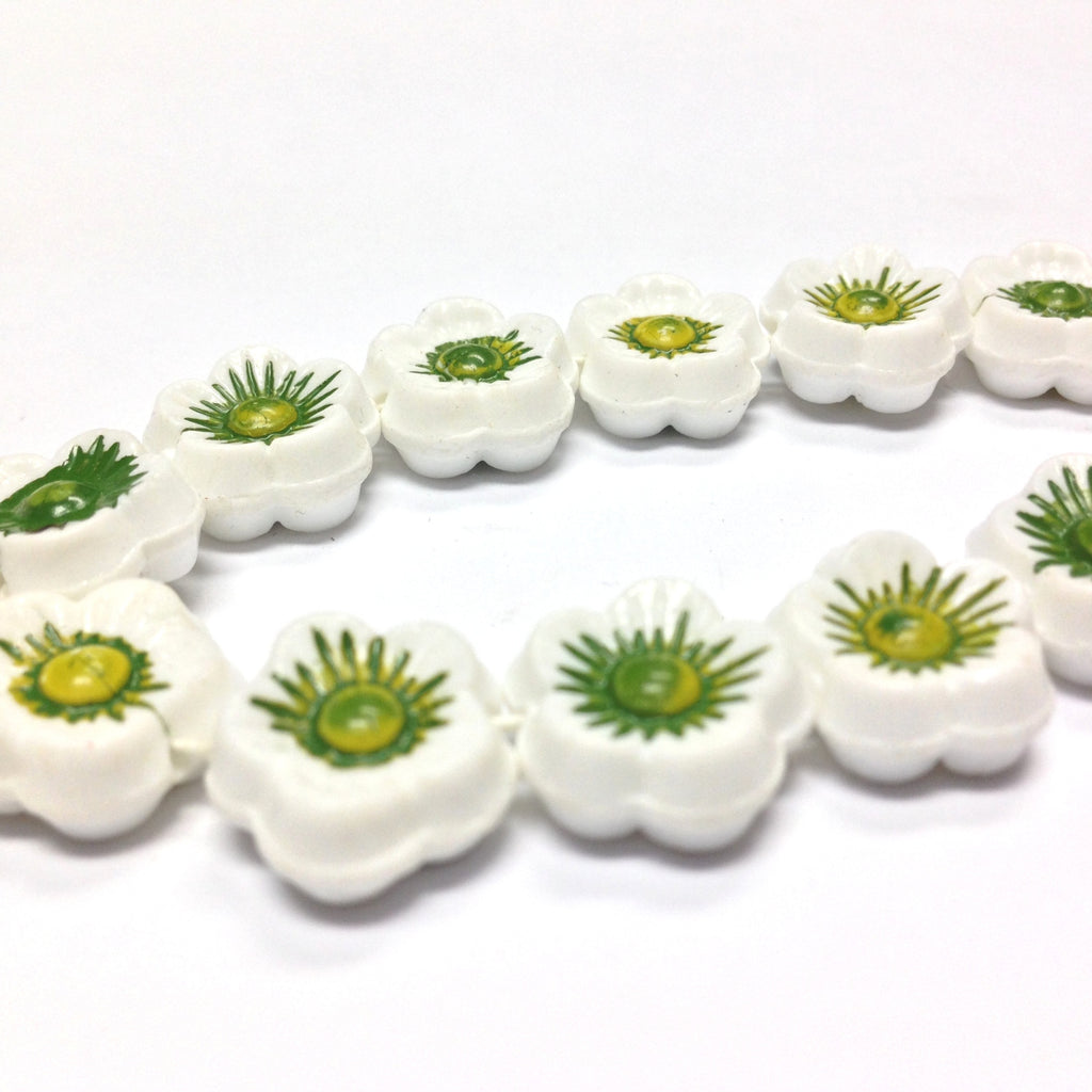14MM White w/Green Flower Disc Bead 15Pcs/String (15 pieces)