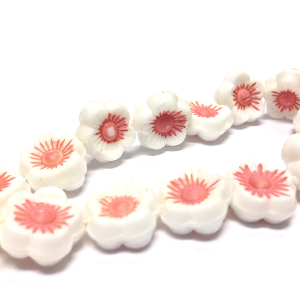 14MM White w/Pink Flower Disc Bead 15Pcs/String (15 pieces)