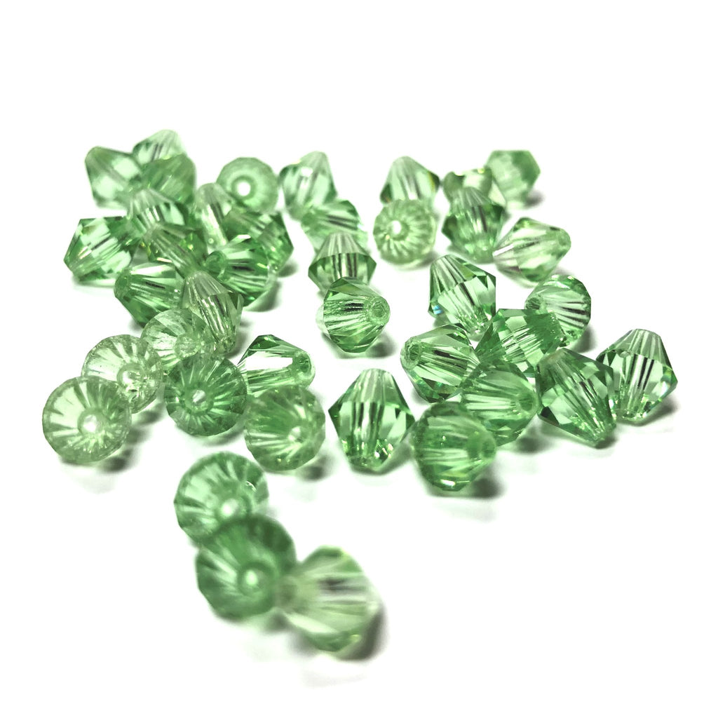 6MM Peridot Cut Crystal Faceted Bicone Beads (144 pieces)