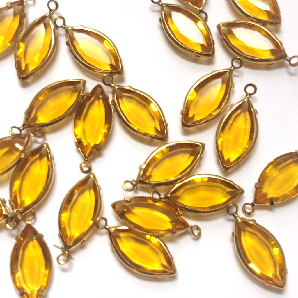 15X7MM Channel 1 Ring Navette Topaz/Brass (48 pieces)