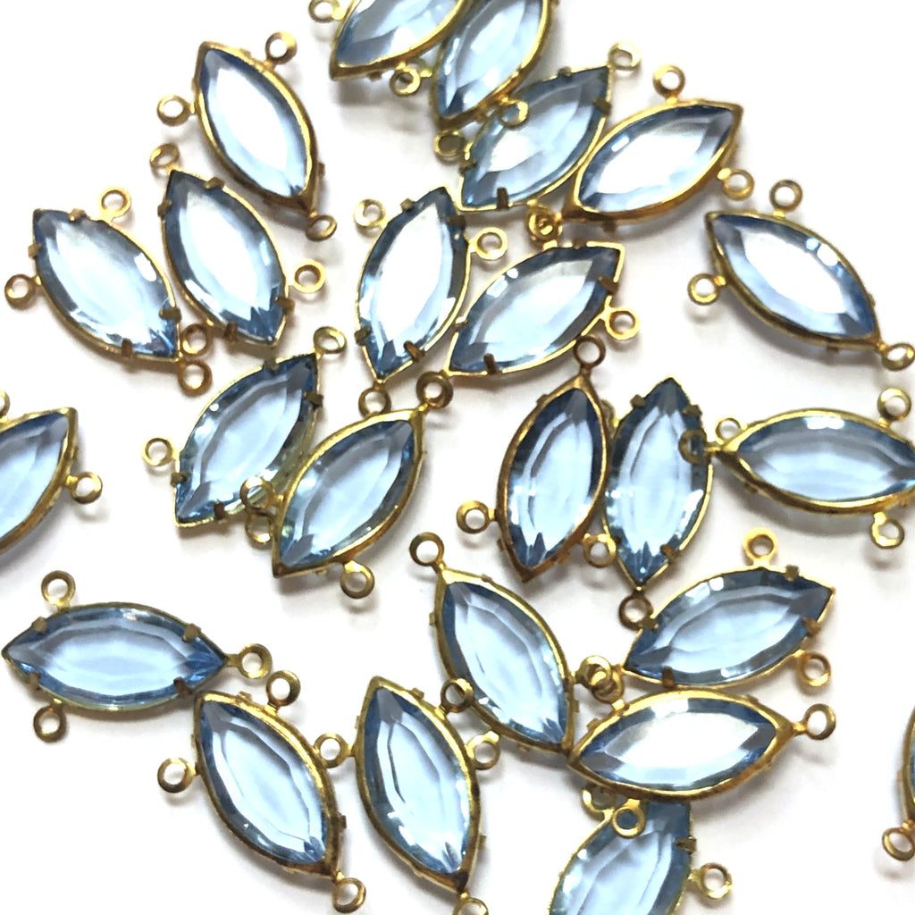 15X7MM Channel 3 Rings Navette Light Sapphire/Brass (48 pieces)