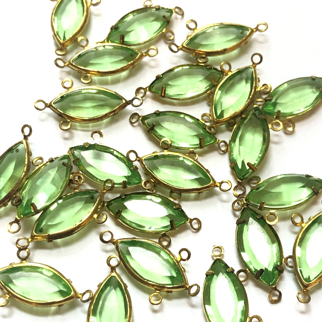 15X7MM Channel 3 Rings Navette Peridot/Brass (48 pieces)