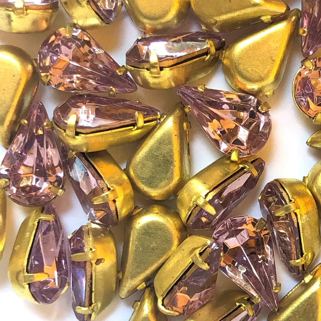 10X6MM 4-Prong Set Pear Light Amethyst/Brass (36 pieces)