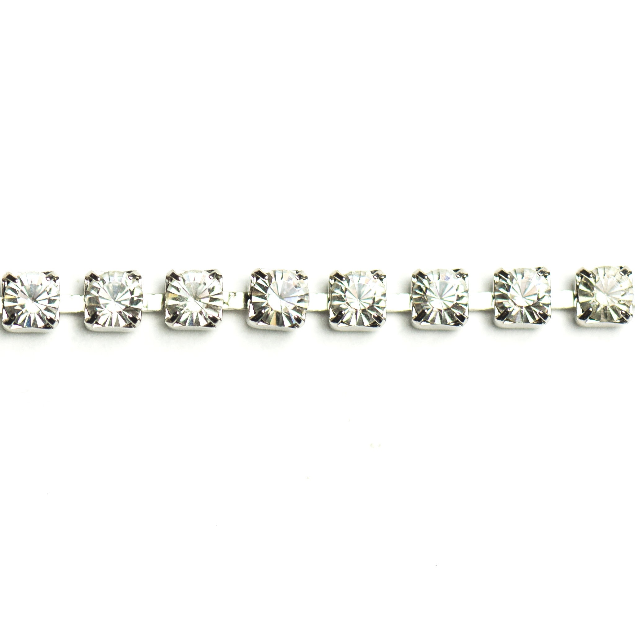 Rhinestone Chain Crystal/Silver (1 foot)