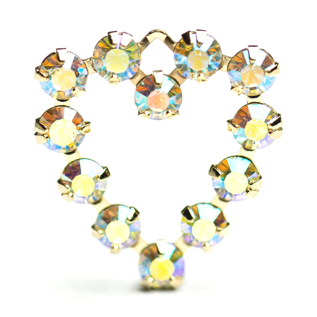 18MM Heart Drop Crystal Ab/Gold (12 pieces)