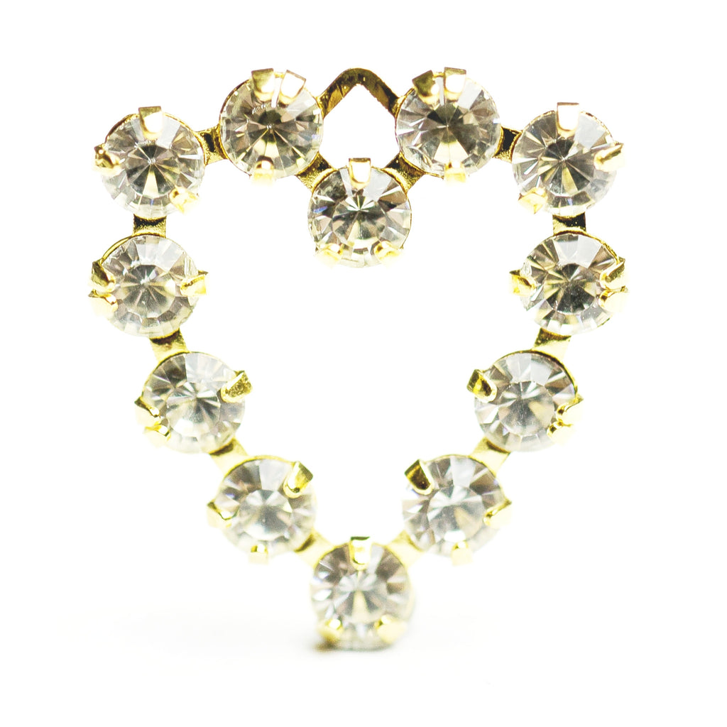 18MM Heart Drop Crystal/Brass (12 pieces)