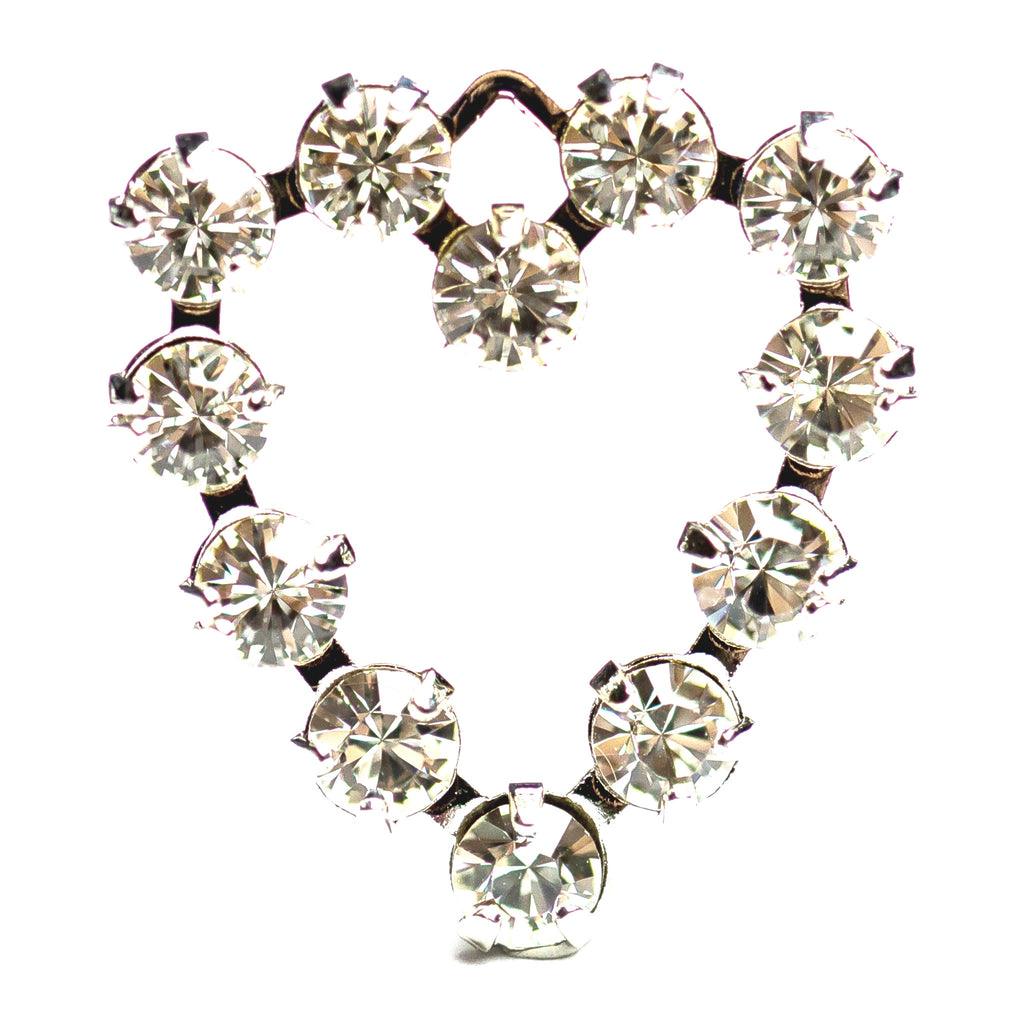 18MM Heart Drop Crystal/Rhodium (12 pieces)