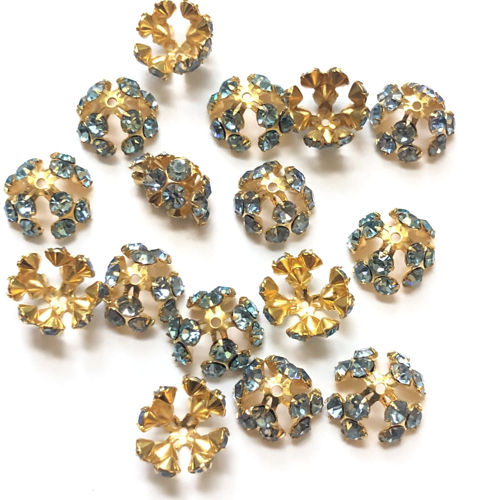 12MM Tri-Cluster Bead Cap Light Sapphire/Gold (12 pieces)