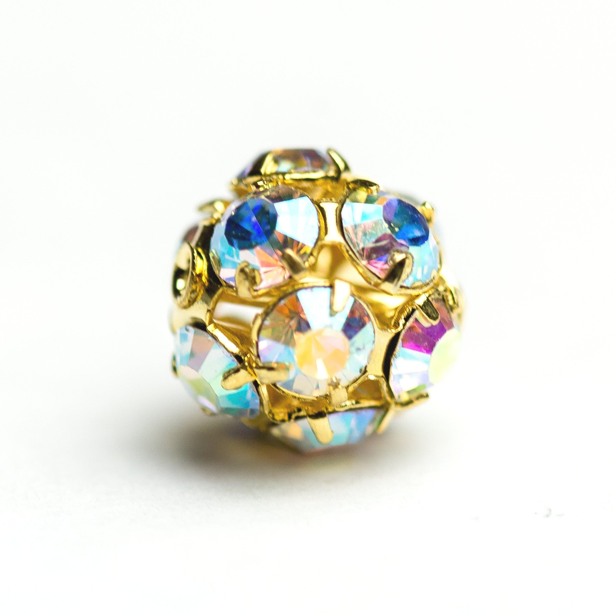 5MM Rhinestone Ball Crystal Ab/Gold (12 pieces)