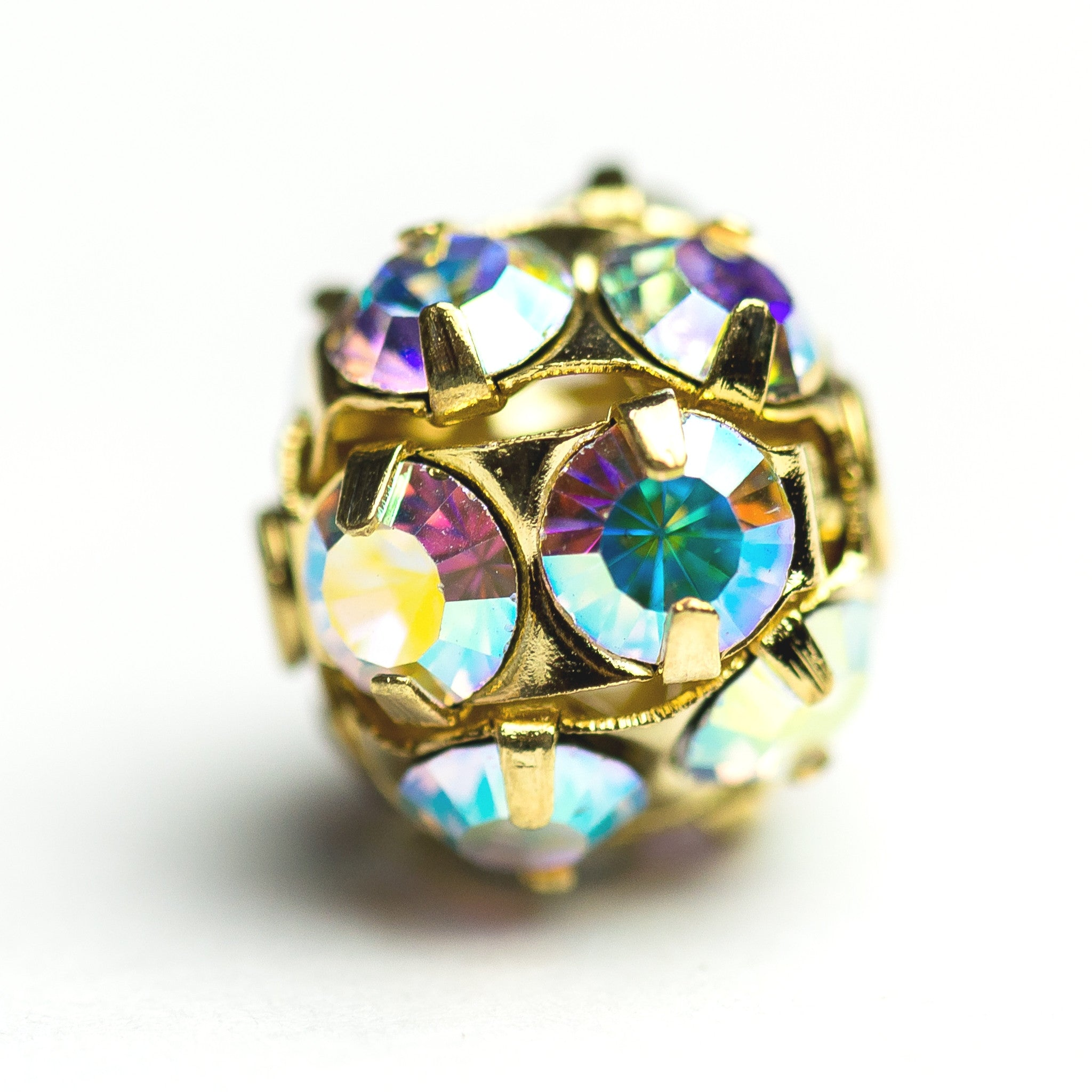 12MM Rhinestone Ball Crystal Ab/Brass (2 pieces)