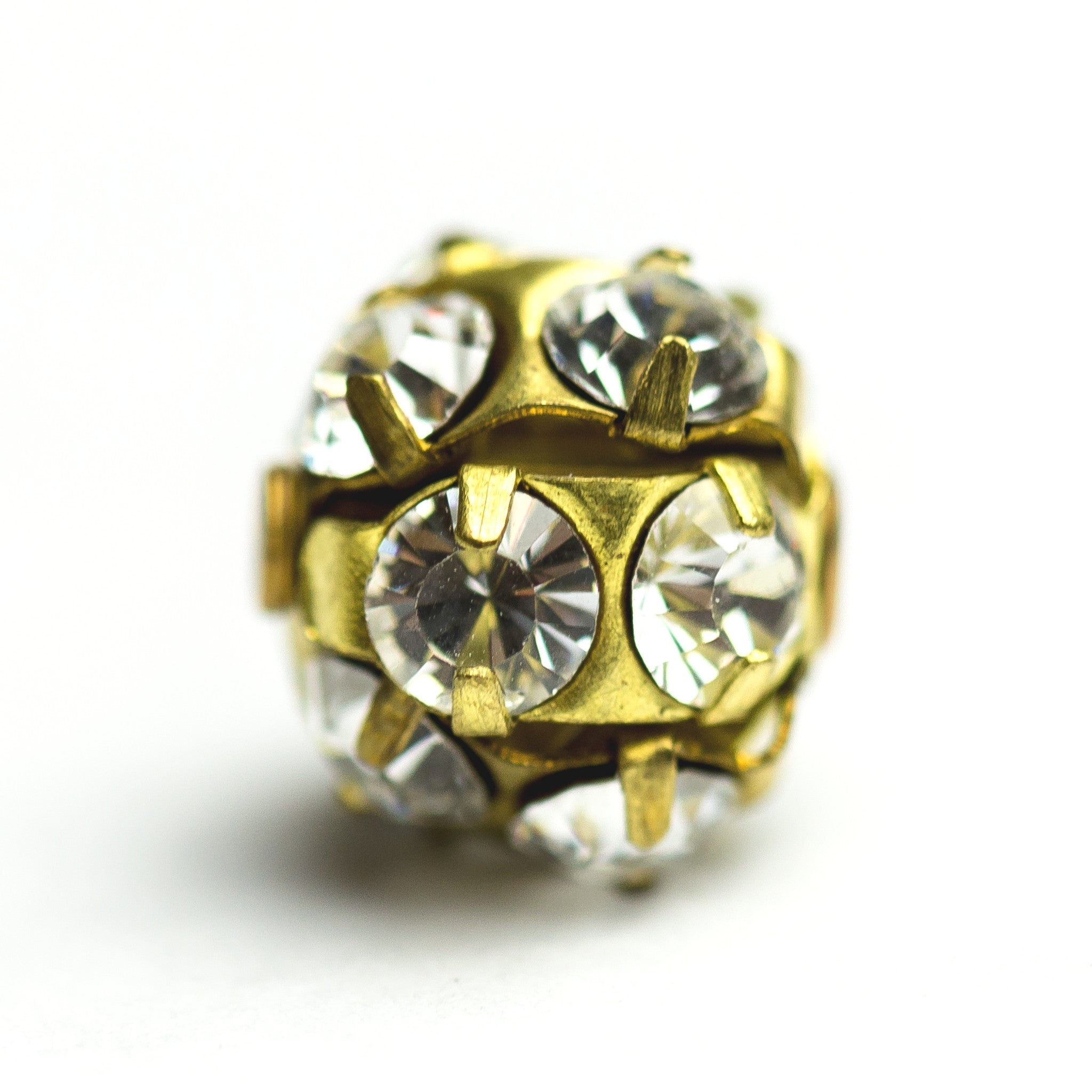 12MM Rhinestone Ball Crystal/Brass (2 pieces)