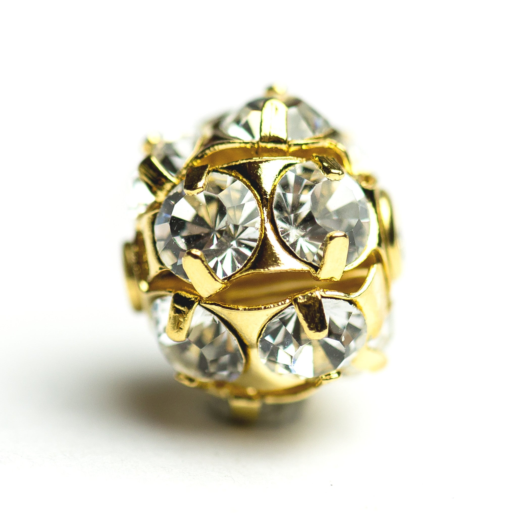 12MM Rhinestone Ball Crystal/Gold (2 pieces)