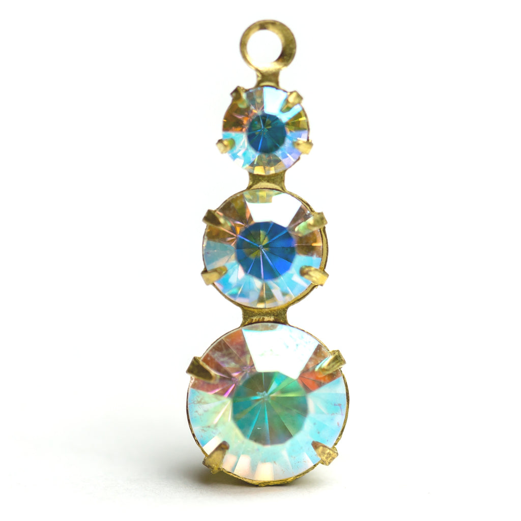 3-Stone Drop Crystal Ab/Brass (6 pieces)