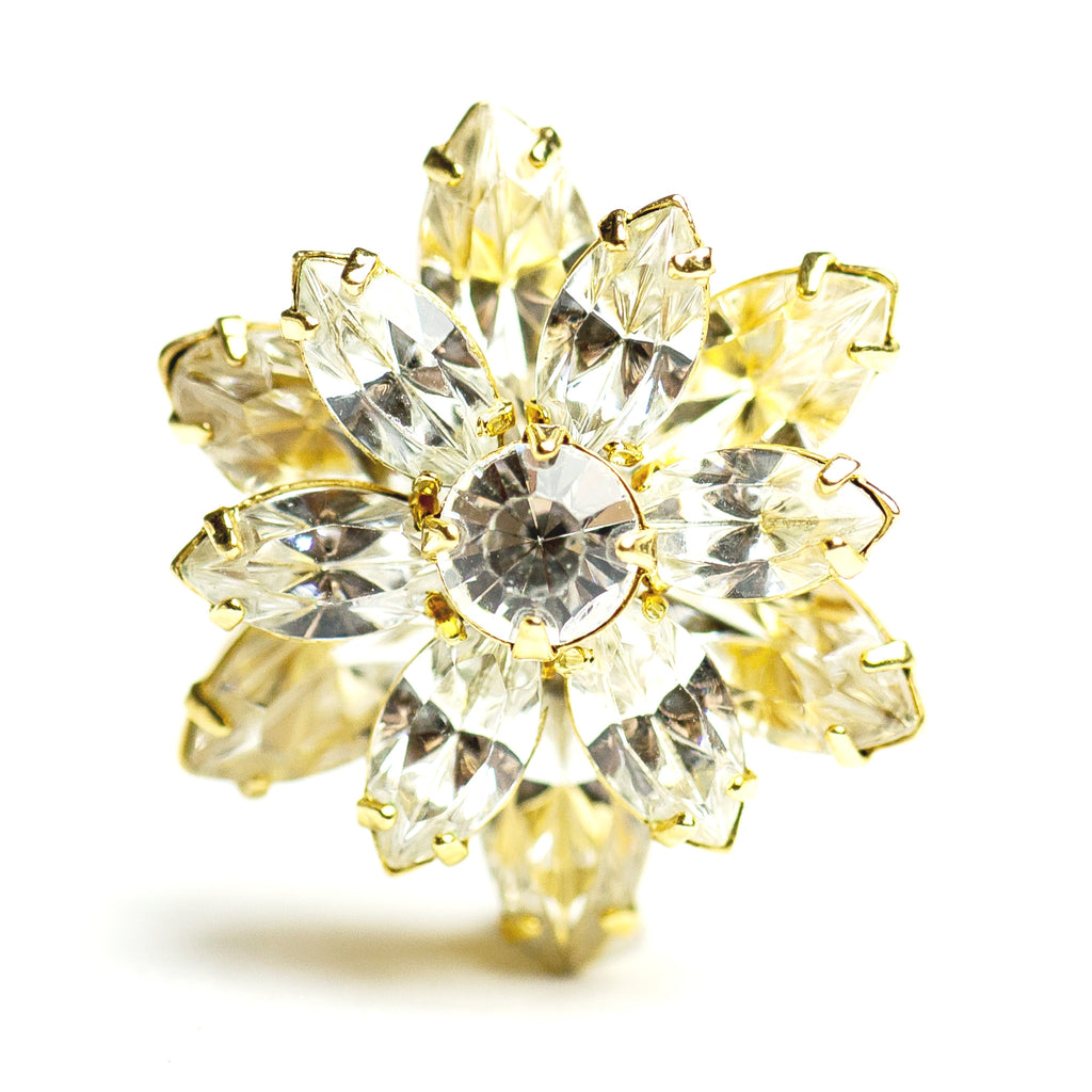 23.4MM Navette Button Crystal/Gold (1 piece)