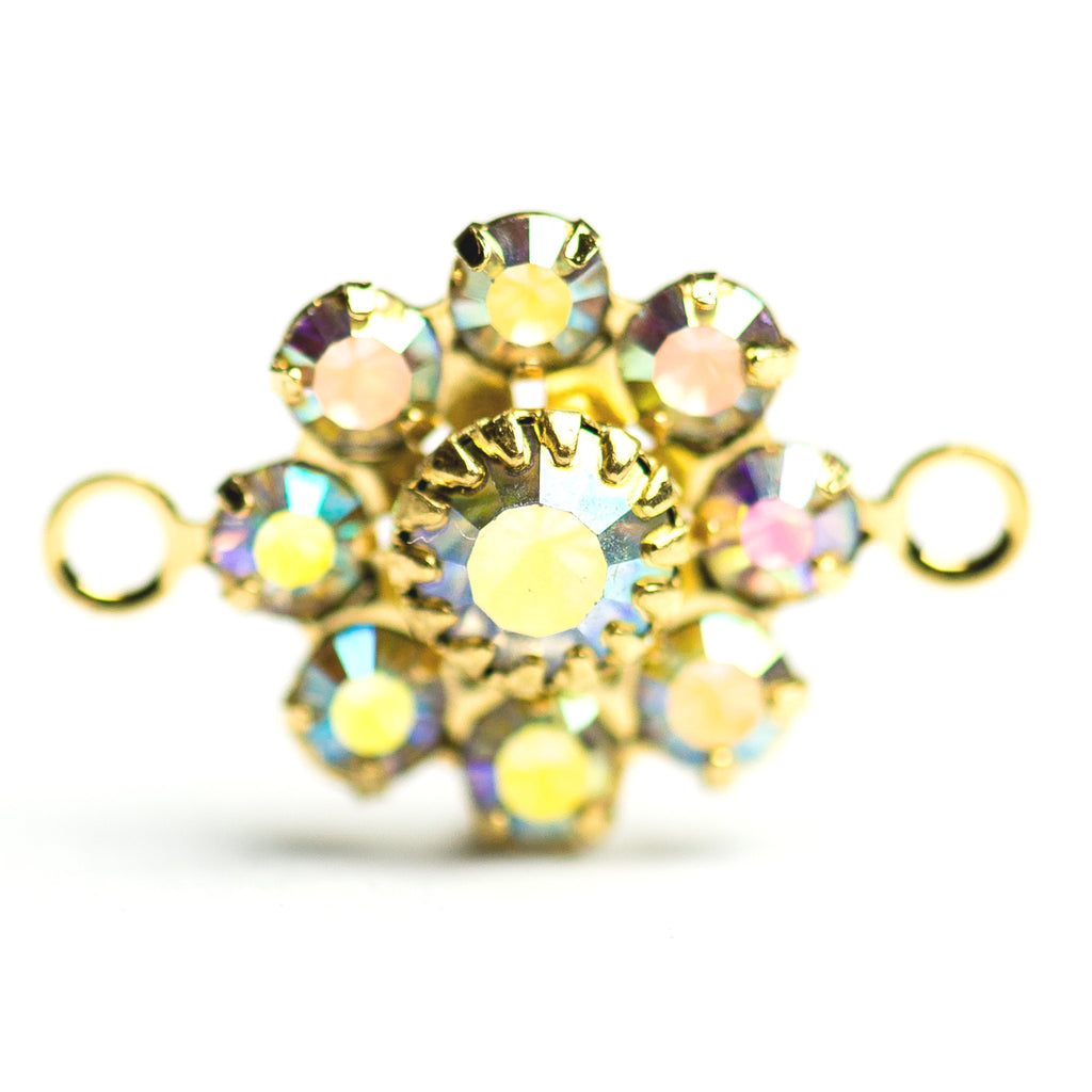 10MM Flower Button 2R Crystal Ab/Gold (12 pieces)