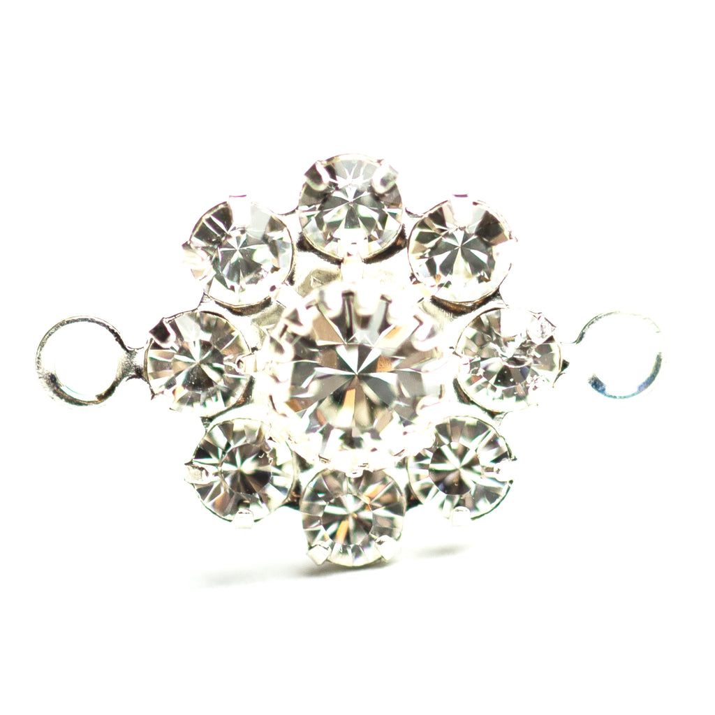 10MM Flower Button 2R Crystal/Silver (12 pieces)