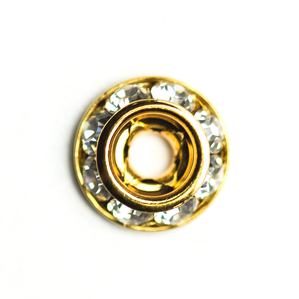 8MM Slant Rondel Crystal/Gold (12 pieces)