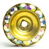 18MM Slant Rondel Crystal Ab/Brass (6 pieces)