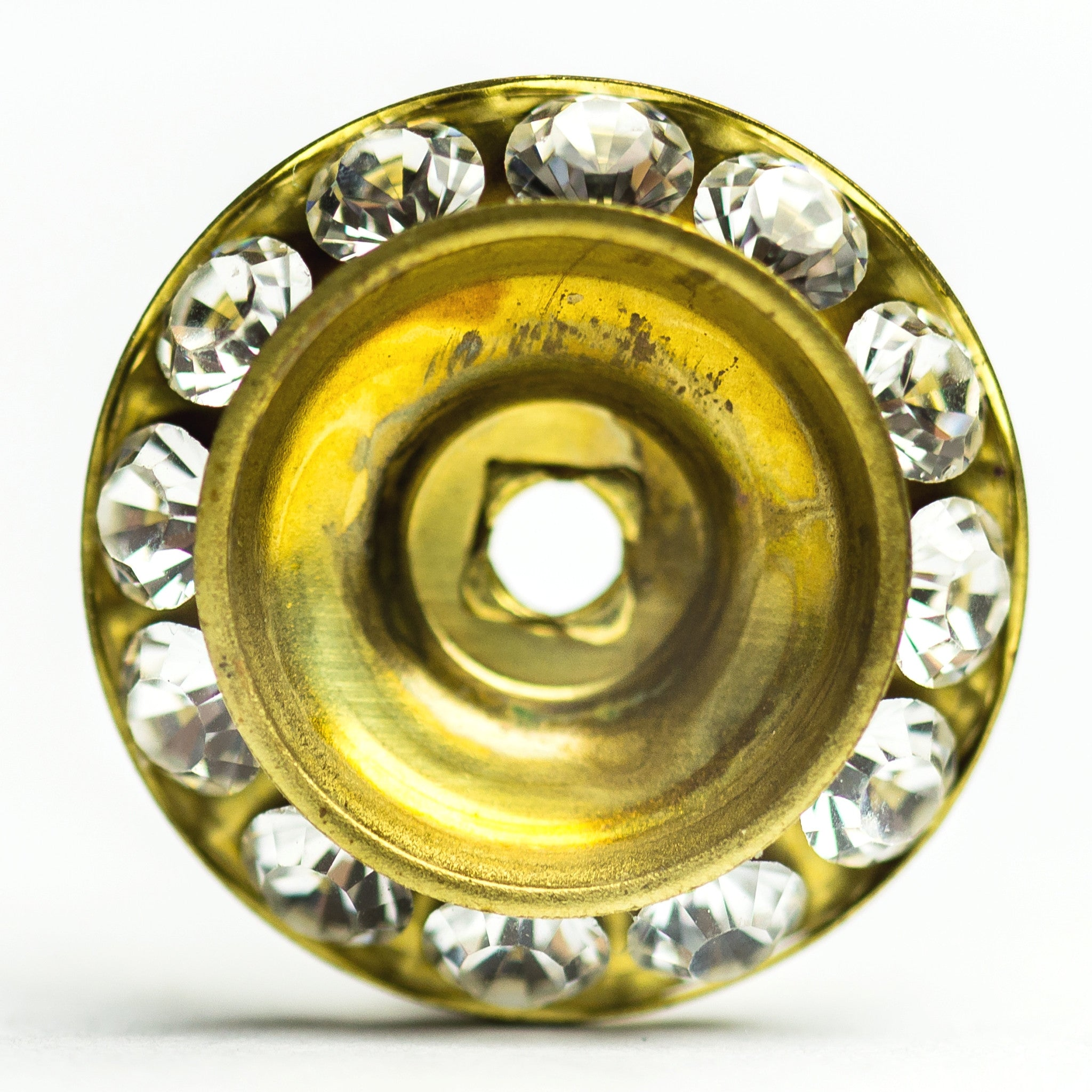 18MM Slant Rondel Crystal/Brass (6 pieces)