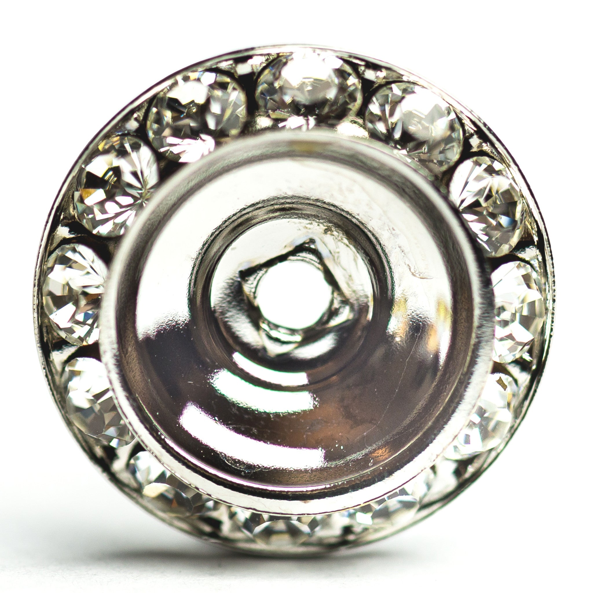 18MM Slant Rondel Crystal/Rhodium (6 pieces)