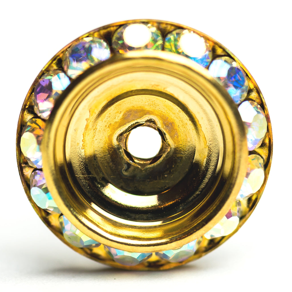 20MM Slant Rondel Crystal Ab/Brass (6 pieces)