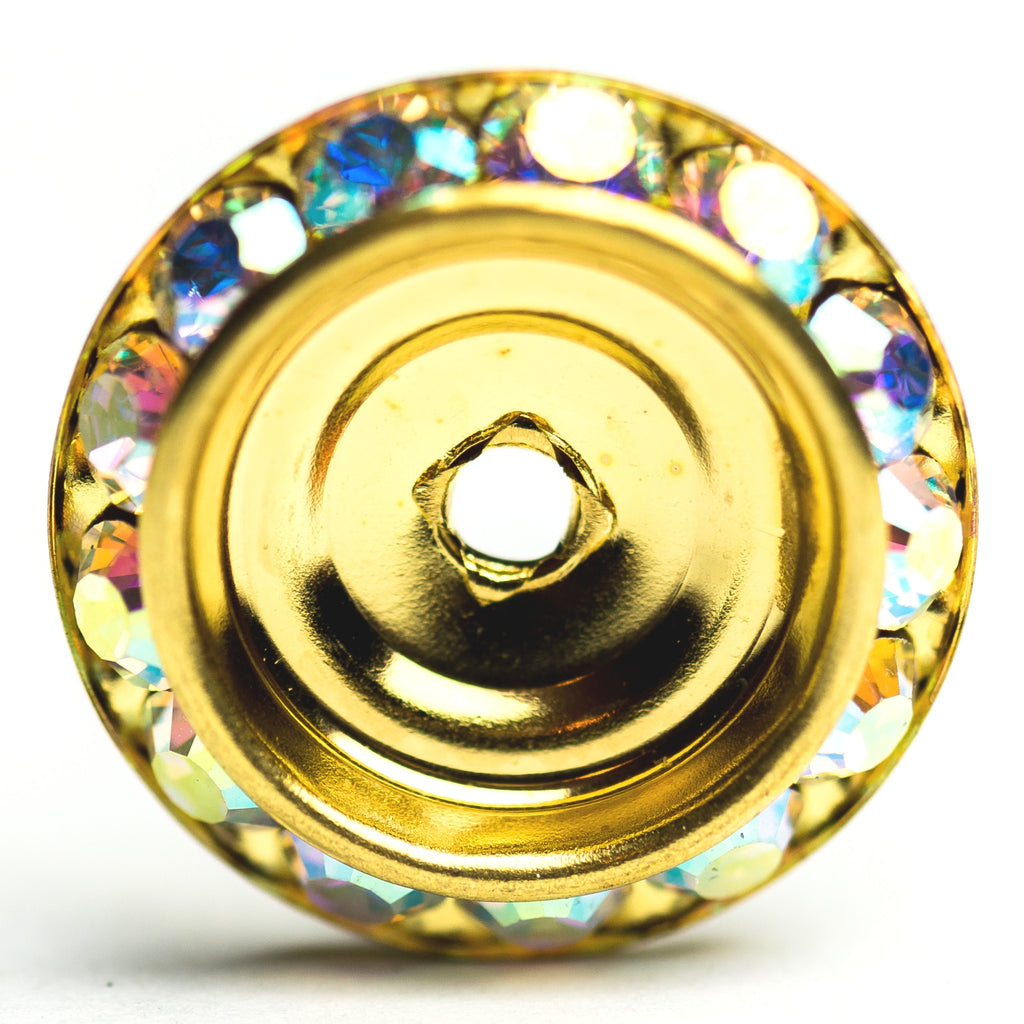 20MM Slant Rondel Crystal Ab/Gold (6 pieces)