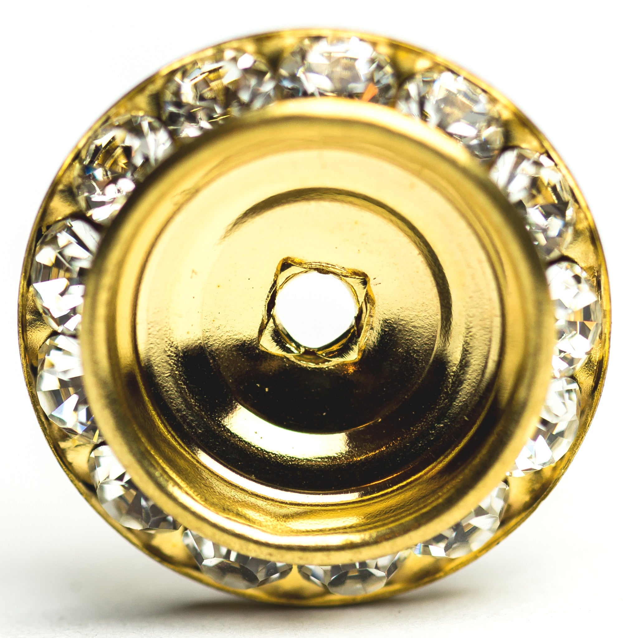 20MM Slant Rondel Crystal/Gold (6 pieces)
