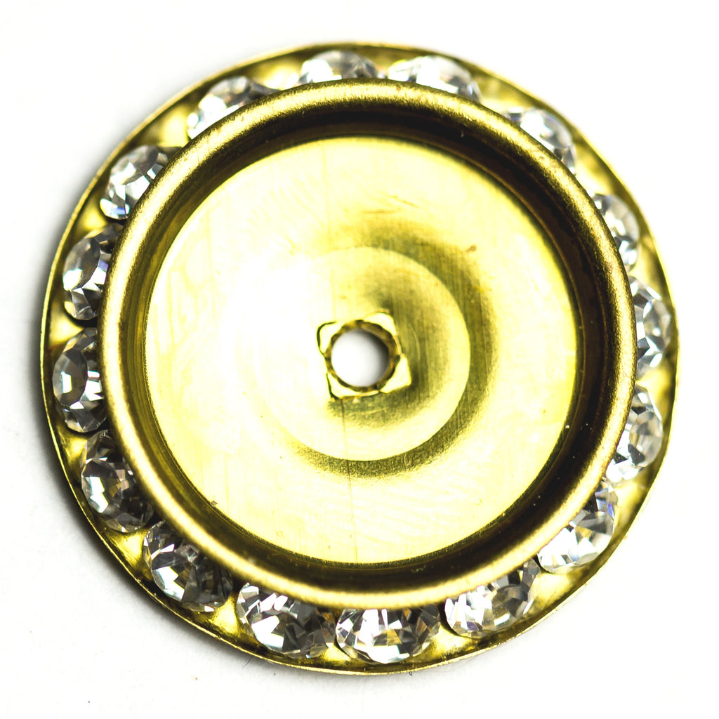 25MM Slant Rondel Crystal/Brass (2 pieces)