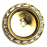 25MM Slant Rondel Crystal/Gold (2 pieces)