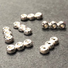 .925 Sterling 4MM Rondel 3-Row Spacer(6Pc/Pk)