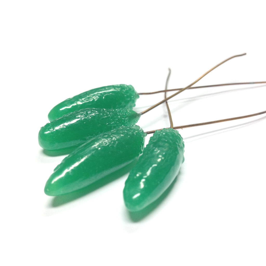 25X9MM Green Glass Teardrop On Wire (36 pieces)