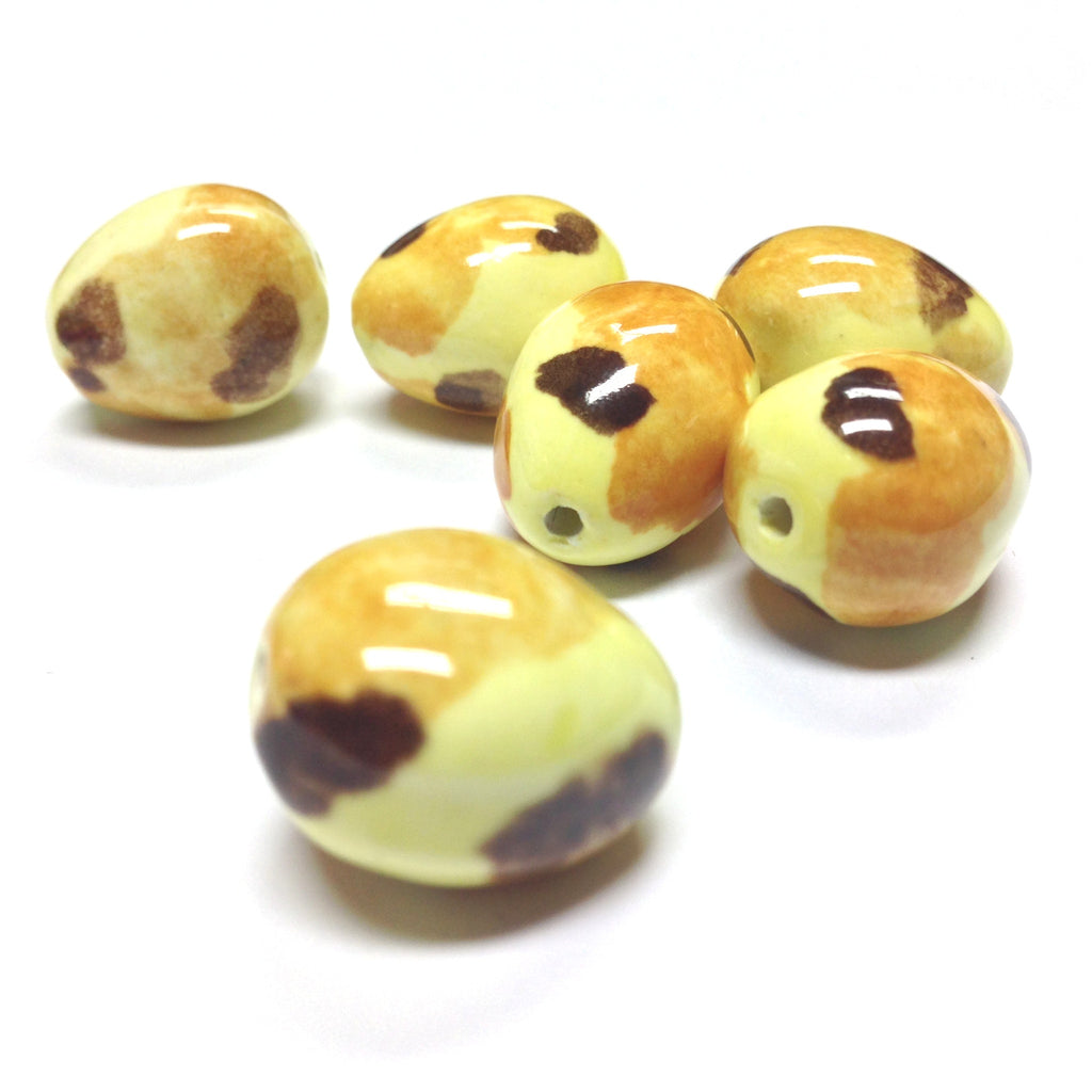19X15MM Yellow/Brown Spotted Ceramic Bead (36 pieces)