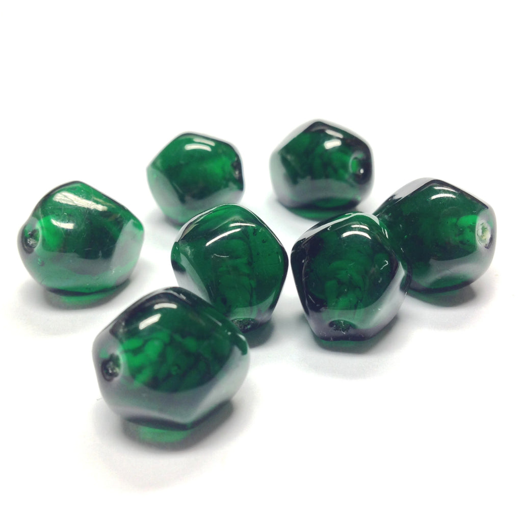 14MM Emerald Green Glass Baroque Bead (12 pieces)