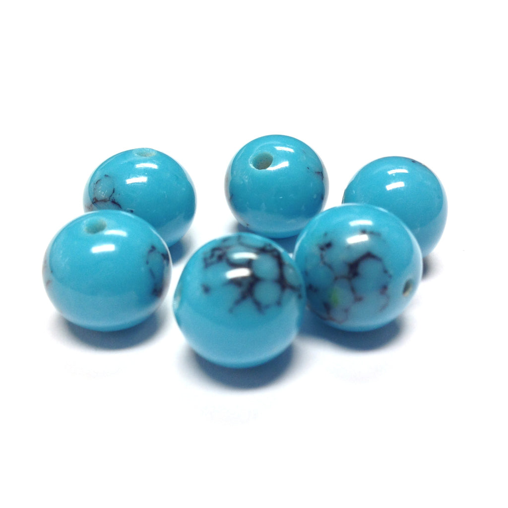 14MM Blue Turquoise Matrix Glass Bead (24 pieces)