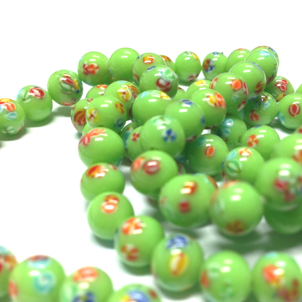 6MM Green Round Glass Tombo Bead (36 pieces)