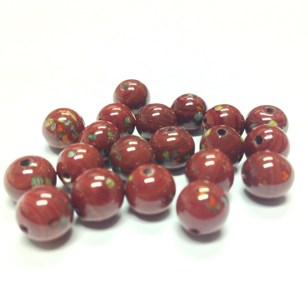 8MM Brown Round Glass Tombo Bead (36 pieces)
