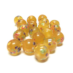 10MM Amber Round Glass Tombo Bead (24 pieces)